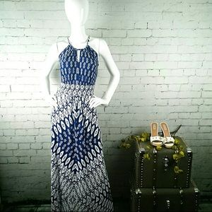 London Times navy and white Ikat print Maxi Dress